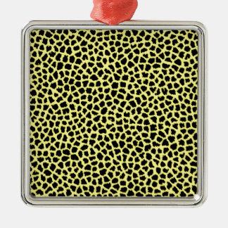 Yellow Leopard print Metal Ornament