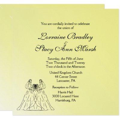 Yellow Lesbian Wedding Invitation