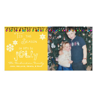 Yellow Let's Be Jolly Christmas Holiday Photo Card