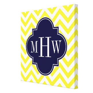 Yellow Lg Chevron Navy Quatrefoil 3 Monogram Canvas Print