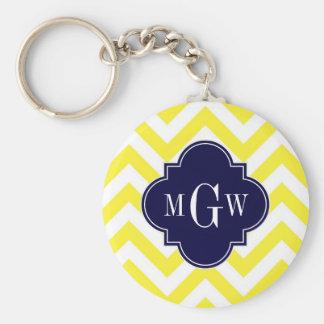 Yellow Lg Chevron Navy Quatrefoil 3 Monogram Keychain