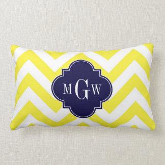 Yellow Lg Chevron Navy Quatrefoil 3 Monogram Lumbar Pillow