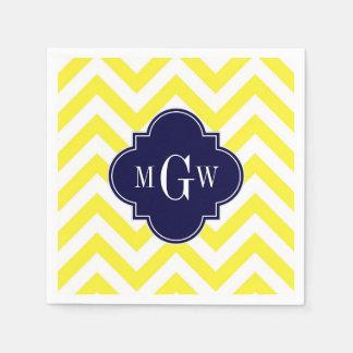 Yellow Lg Chevron Navy Quatrefoil 3 Monogram Paper Napkin