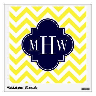 Yellow Lg Chevron Navy Quatrefoil 3 Monogram Wall Decal