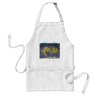 Yellow Lichens on a black rock Aprons