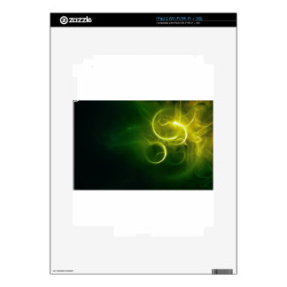 Yellow Light Circles On A Swirly Green Background Decals For iPad 2