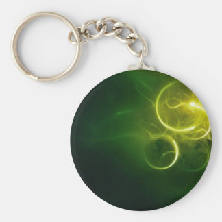 Yellow Light Circles On A Swirly Green Background Keychain