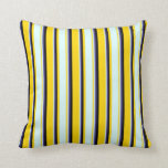 [ Thumbnail: Yellow, Light Cyan, Dark Slate Blue, and Black Throw Pillow ]