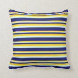[ Thumbnail: Yellow, Light Cyan & Midnight Blue Colored Lines Throw Pillow ]