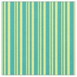 [ Thumbnail: Yellow & Light Sea Green Lines Pattern Fabric ]