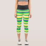 [ Thumbnail: Yellow, Light Yellow, Lime & Blue Colored Stripes Leggings ]
