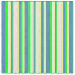 [ Thumbnail: Yellow, Light Yellow, Lime & Blue Colored Stripes Fabric ]