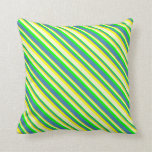 [ Thumbnail: Yellow, Light Yellow, Lime & Blue Colored Stripes Throw Pillow ]