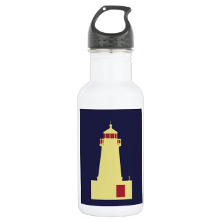 Yellow Lighthouse with Red 18oz Water Bottle