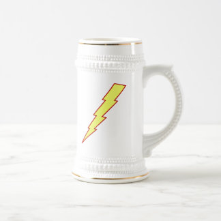 Yellow Lightning Bolt Beer Stein