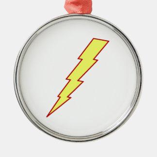 Yellow Lightning Bolt Round Metal Christmas Ornament