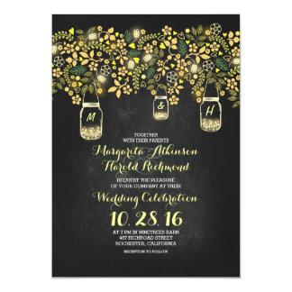 yellow lights mason jars floral chalkboard wedding card