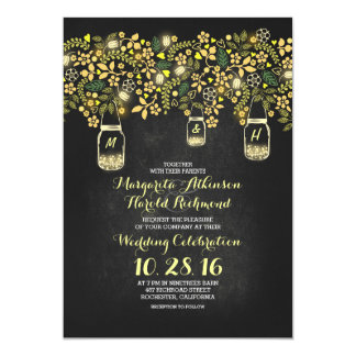 "yellow lights mason jars floral chalkboard wedding 5"" x 7"" invitation card"