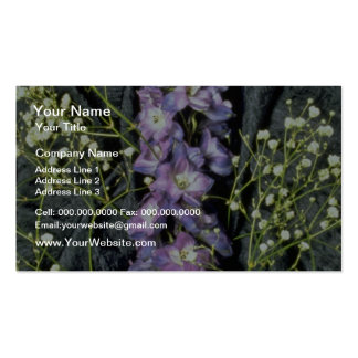 Yellow Lilac stem with baby's breath on blue fabri Double-Sided Standard Business Cards (Pack Of 100)