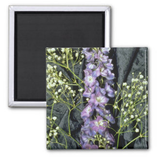 Yellow Lilac stem with baby's breath on blue fabri Refrigerator Magnet