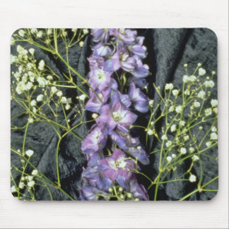 Yellow Lilac stem with baby's breath on blue fabri Mouse Pad