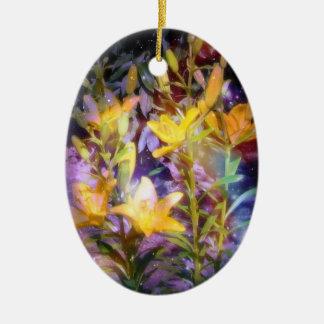 Yellow Lilies Fantasy Circle Ornament