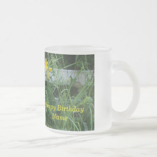 Yellow Lilies Frosted Glass Coffee Mug