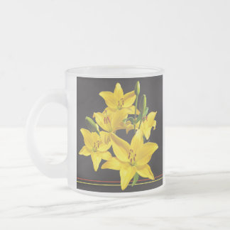 YELLOW LILIES FROSTED MUG