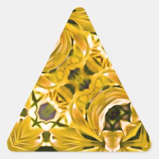 Yellow Lilies Geometric Triangle Sticker