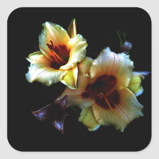 Yellow Lilies Glow Square Sticker