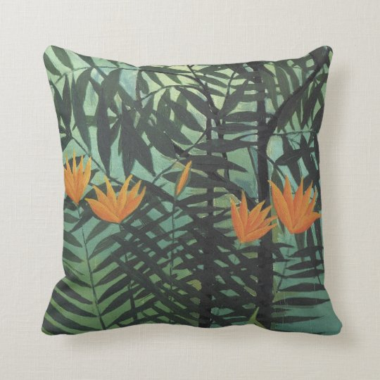 Yellow Lilies with Palms on Blue Rousseau Pillow