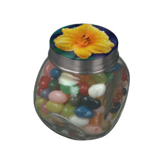 Yellow Lilly Flower Jelly Belly Candy Jar