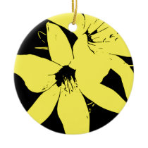 Yellow Lilly Flowers Ceramic Ornament