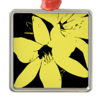 Yellow Lilly Flowers Metal Ornament