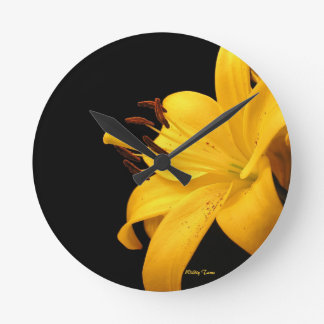 Yellow Lilly Round Clock