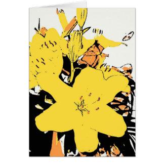Yellow Lily Cartoon Greeting Card (Blank)