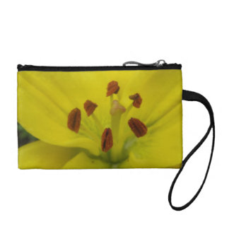 Yellow Lily Floral Bagettes Bag Coin Wallet