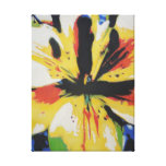 Yellow Lily flower abstract art canvas print