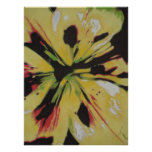 Yellow Lily flower original abstract art poster