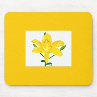 Yellow Lily Green Leaves Custom Mousepads