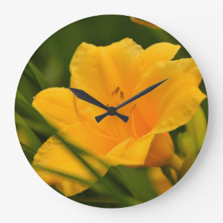 Yellow Lily in Bloom Clocks