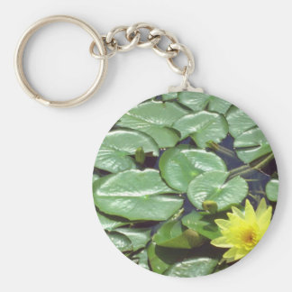 yellow Lily pads flowers Key Chain