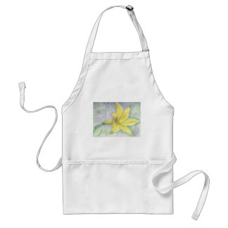Yellow Lily Painting in Acrylic Adult Apron