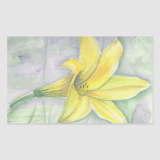 Yellow Lily Painting in Acrylic Rectangular Sticker