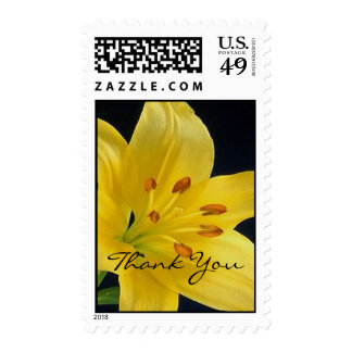 Yellow lily Thank you Postage