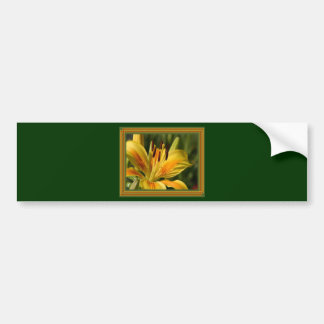 Yellow Lily With Decorative Border Bumper Stickers