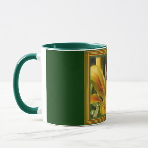 Yellow Lily With Decorative Border Mug