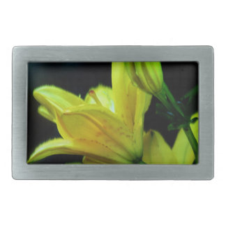 Yellow Lily with Wind Effect Rectangular Belt Buckle