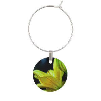 Yellow Lily with Wind Effect by Shirley Taylor Wine Charm