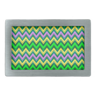 Yellow Lime and Lilac Aztec Chevron Stripes Belt Buckle